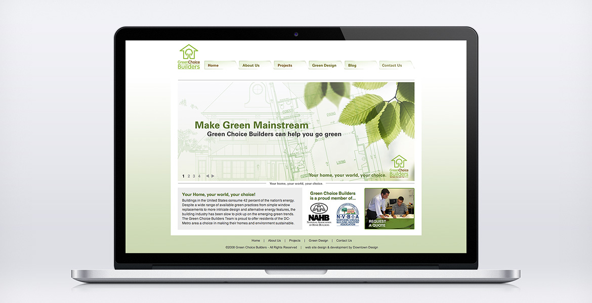 Green Choice Builders 'Home' page