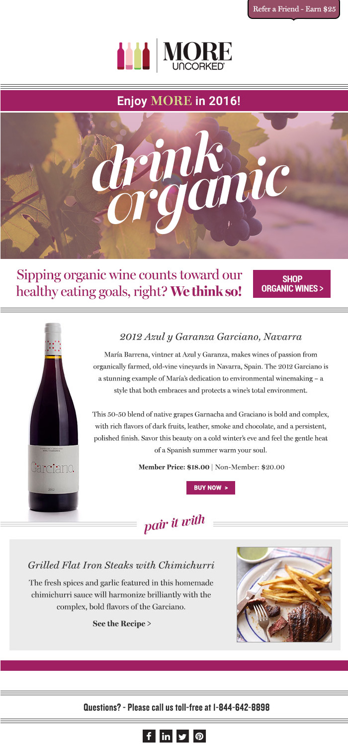MORE Uncorked 'Organic Wines' HTML email