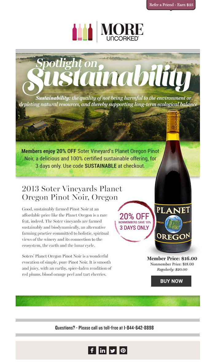 MORE Uncorked 'Sustainable Wines' HTML email