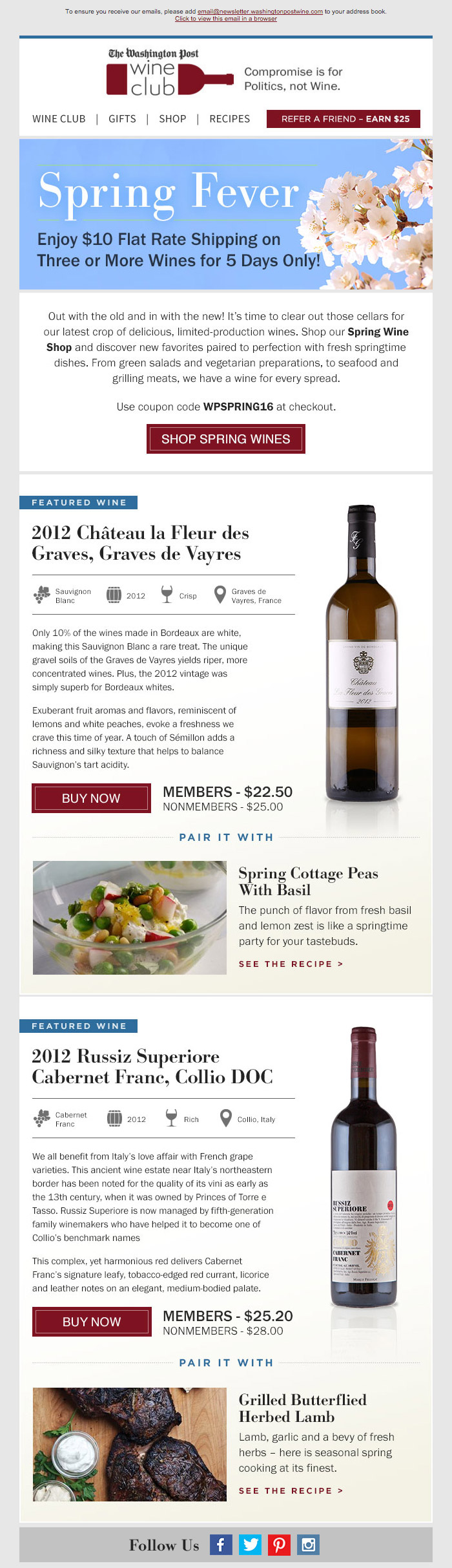 Washington Post Wine 'Spring Wines' HTML email