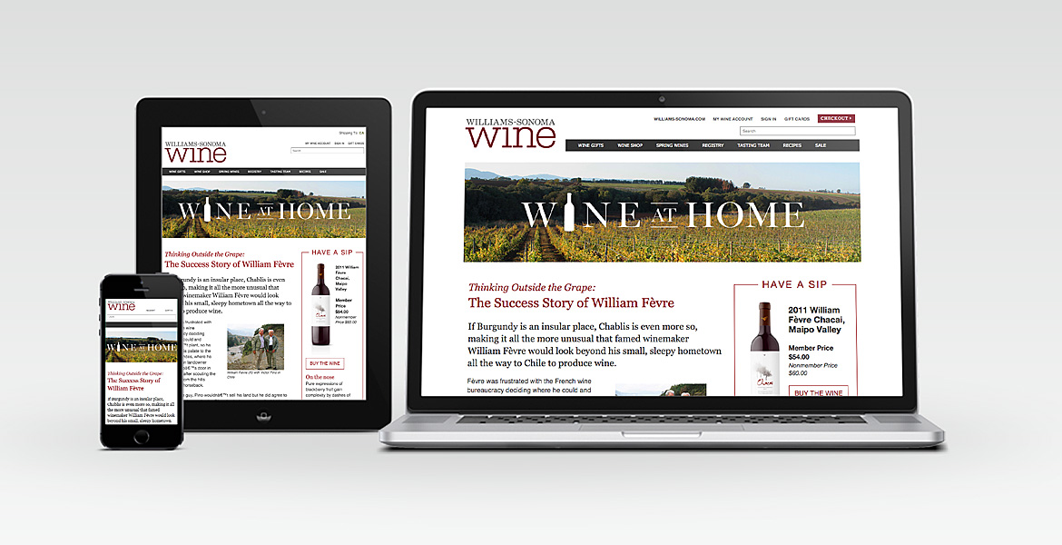 Global Wine Co. responsive landing page