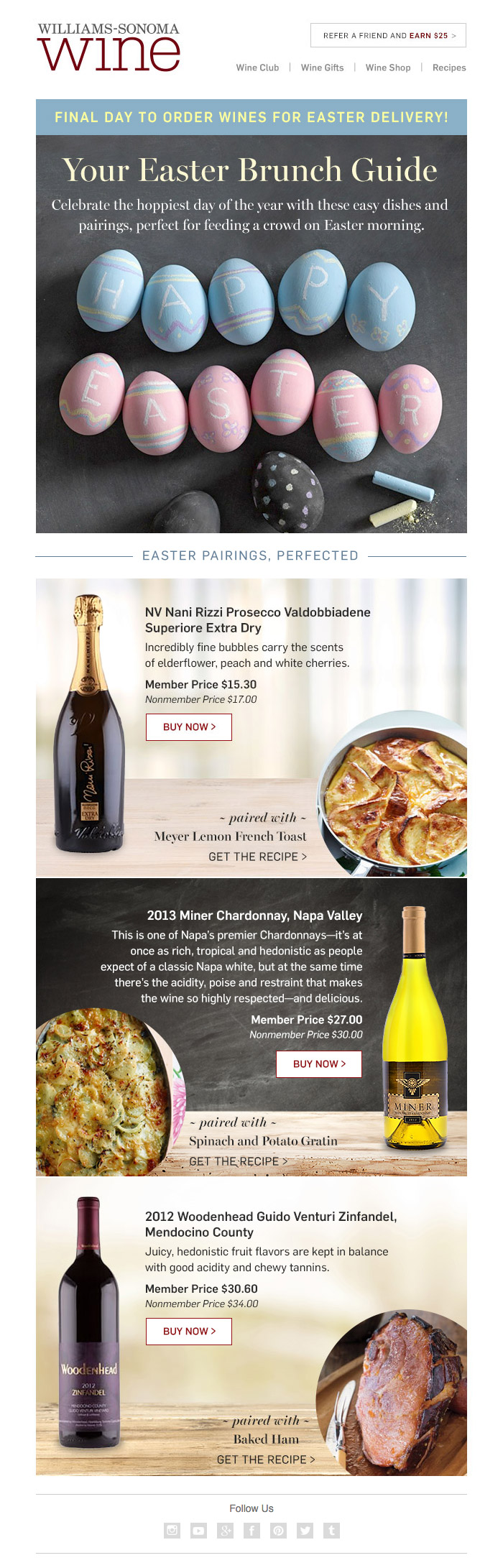 Williams-Sonoma Wine 'Spring Wines' HTML email