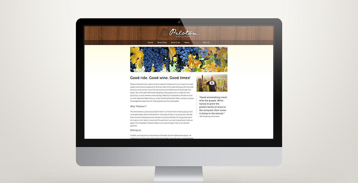 Peloton Cellars 'About' page