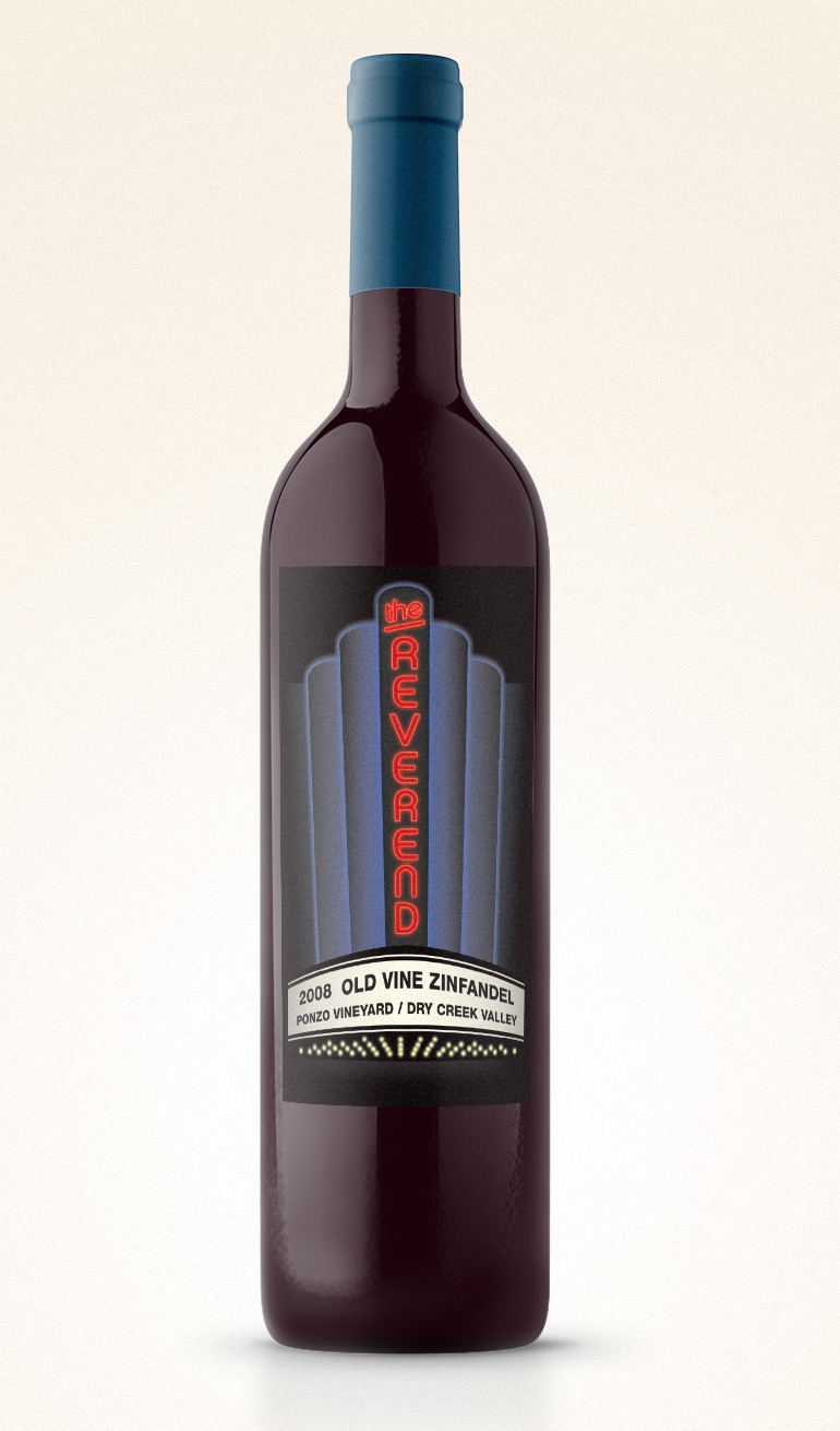 'The Reverend' wine packaging